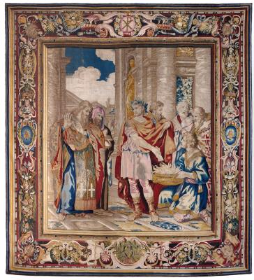 Image for Tapestry showing Constantine Burning the Memorials to Give Tax Concessions to the Christian Church