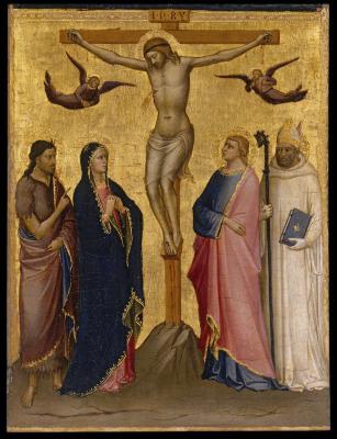 Image for The Crucifixion with Saint John the Baptist, the Virgin, Saint John the Evangelist, and a Carthusian Saint