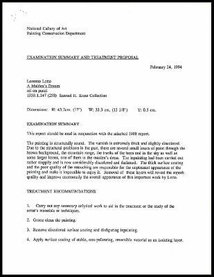 Image for K0291 - Examination summary and treatment proposal, 1994