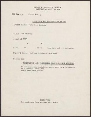 Image for K0002 - Condition and restoration record, circa 1950s-1960s