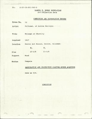 Image for K0012 - Condition and restoration record, circa 1950s-1960s