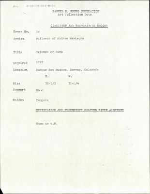Image for K0014 - Condition and restoration record, circa 1950s-1960s