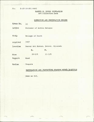 Image for K0015 - Condition and restoration record, circa 1950s-1960s