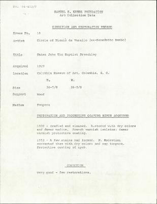 Image for K0018 - Condition and restoration record, circa 1950s-1960s