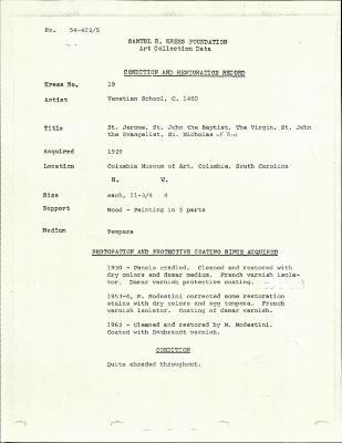 Image for K0019 - Condition and restoration record, circa 1950s-1960s