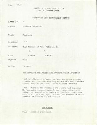 Image for K0021 - Condition and restoration record, circa 1950s-1960s