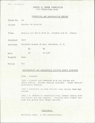 Image for K0024 - Condition and restoration record, circa 1950s-1960s