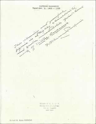 Image for K0025 - Expert opinion by Perkins, circa 1920s-1940s