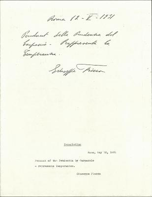 Image for K0025 - Expert opinion by Fiocco, 1931