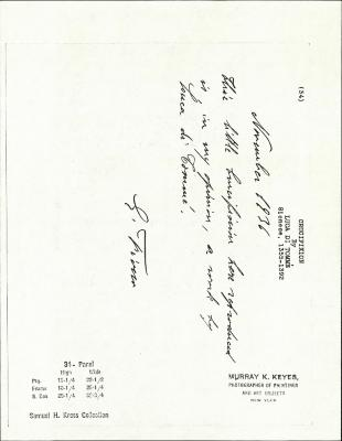 Image for K0034 - Expert opinion by Fiocco, 1936