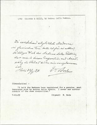 Image for K0035 - Expert opinion by Bode, 1929
