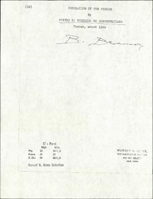 Image for K0059 - Expert opinion by Berenson, circa 1920s-1950s