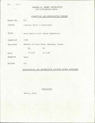 Image for K00H1 - Condition and restoration record, circa 1950s-1960s