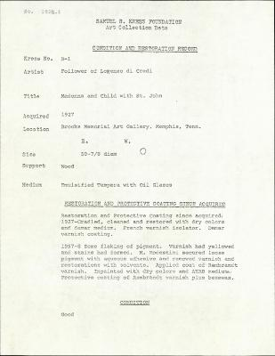 Image for K00B1 - Condition and restoration record, circa 1950s-1960s