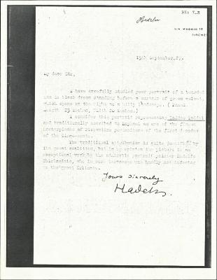 Image for K00X3 - Expert opinion by Hadeln, 1927