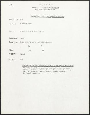 Image for K00X2 - Condition and restoration record, circa 1950s-1960s