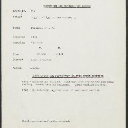 Image for K00X7 - Condition and restoration record, circa 1950s-1960s