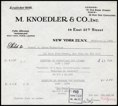 Image for M. Knoedler & Co., February 7, 1955