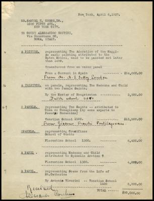 Image for Contini Bonacossi, Alessandro, April 6, 1927