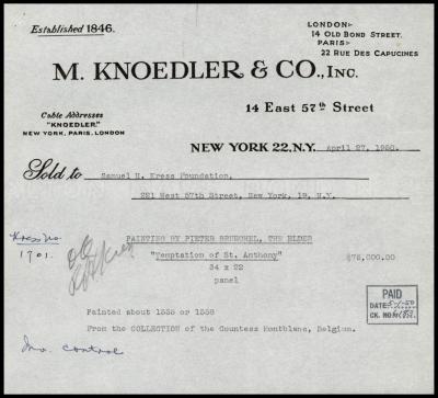 Image for M. Knoedler & Co., April 27, 1950