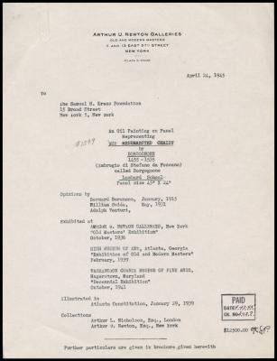 Image for Arthur U. Newton Galleries, April 24, 1945