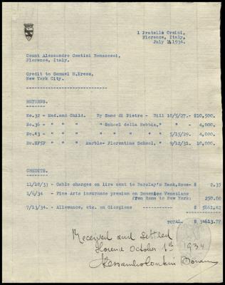 Image for Contini Bonacossi, Alessandro, July 13, 1934[2]