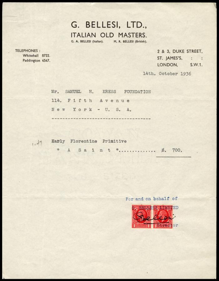 Image for G. Bellesi, Ltd., October 14, 1936