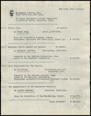 Image for Contini Bonacossi, Alessandro, June 23, 1933 [2]