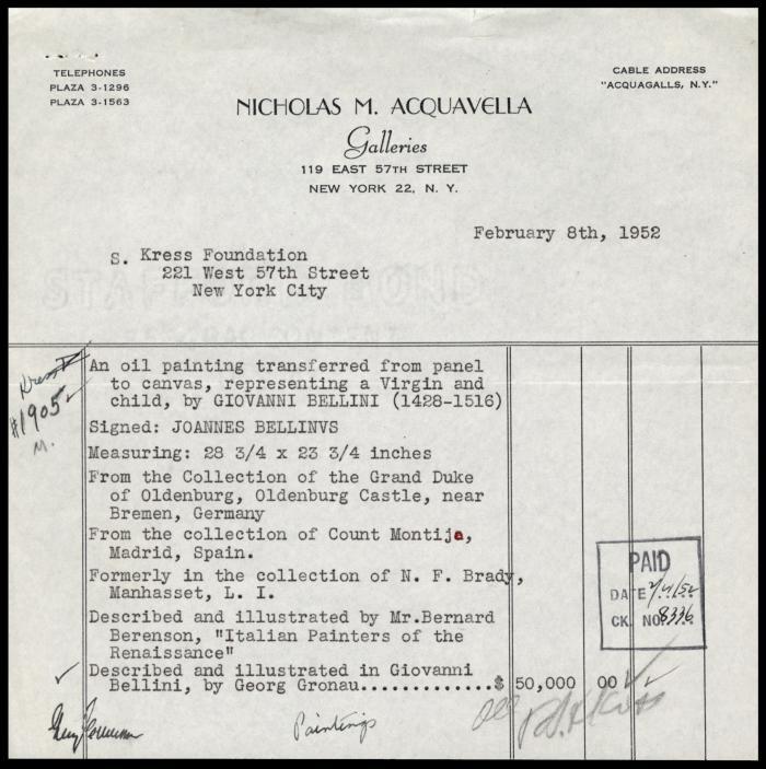 Image for Acquavella Galleries, February 8, 1952