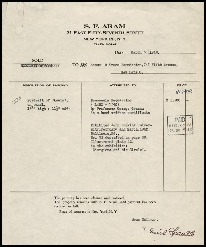 Image for Aram Gallery, March 3, 1948