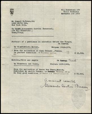 Image for Contini Bonacossi, Alessandro, November 1, 1932 [2]