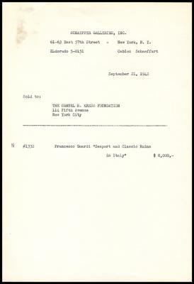 Image for Schaeffer Galleries, September 21, 1942