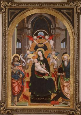 Image for Madonna and Child Enthroned with Saints John the Baptist and John the Evangelist
