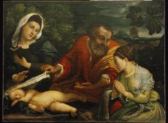 Image for The Holy Family with a Donatrix as Saint Catherine of Alexandria