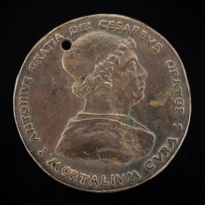 Image for Antonio Gratiadei, died 1491, Imperial Envoy [obverse]; Triumphal Car with Mercury and the Muses [reverse]
