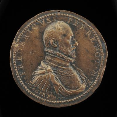 Image for Frédéric Perrenot, 1536-1602, Lord of Champagney, Governor of Antwerp 1571 [obverse]; Ship, and Putto Holding Scales [reverse]