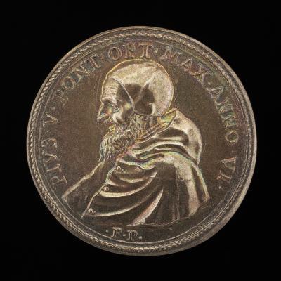 Image for Pius V (Michele Ghislieri, 1504-1572), Pope 1566 [obverse]; Battle of Lepanto [reverse]