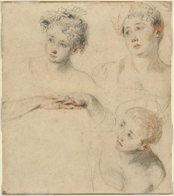 Image for Three Studies of a Woman's Head and a Study of Hands [recto]; View of a House, a Cottage, and Two Figures [verso]