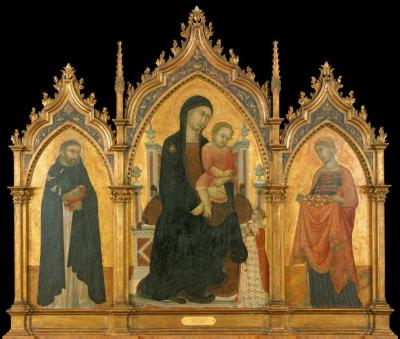 Image for Madonna and Child Enthroned with Donors and Saints Dominic and Elizabeth of Hungary (triptych: left)
