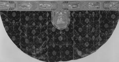 Image for Ferronerie type voided velvet cope of green pile with pale yellow ground, embroidered hood, and orphreys